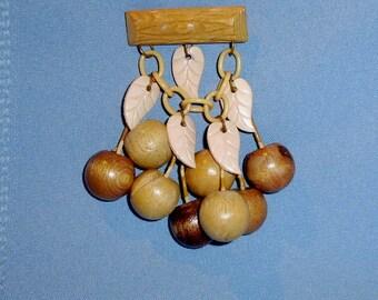 Unusual Vintage Wood and Plastic Cherries Brooch Pin