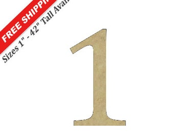 "Unfinished Wooden Number ""1"" in the CAMBRIA Font Style"