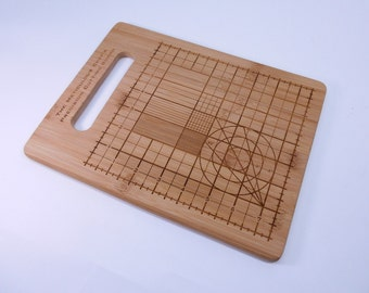 """Precision Cutting Board, Geek, Science Art 11"""" x 8 1/2"""" Size Custom Engraved Bamboo Cutting Board, for the OC Chef"""