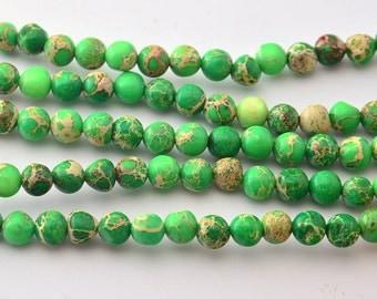 "16""   Green  Imperial Jasper  Round Beads--6mm"