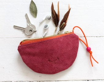Recycled leather pouch / 100% repurposed pink suede leather