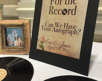 Vintage Aged Music Rose Record Signing Guest Book Sign
