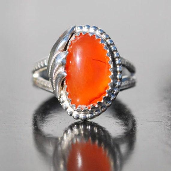 carnelian ring orange gemstone ring orange ring sterling
