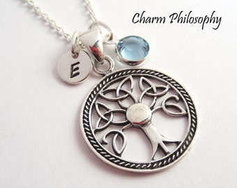 Celtic Tree of Life Necklace - Trinity Knot Tree Pendant - 925 Sterling Silver Jewelry