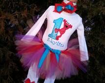 GIRLS Glitter Elmo 1st Birthday personalized first birthday outift/ personalized shirt, tutu headband and leg warmers red aqua purple pink