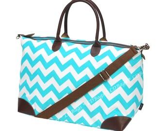 Weekender Overnight Tote Bag, Bridesmaid Gift,Teachers Gift, Weekender Tote Bag, Chevron Overnight Bag, Weekender Bag, Aqua Chevron Tote