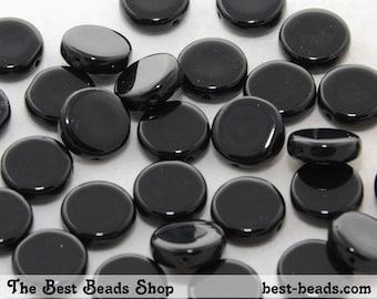 30pcs Black Flat Round Czech Glass Pressed Beads 10mm