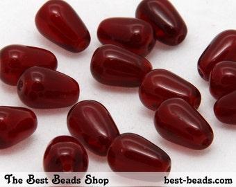 30pcs Garnet Red Drops Czech Glass Pressed Beads 10x6mm