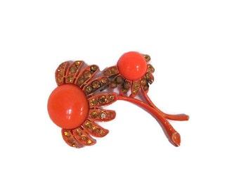 Vintage Orange Flower Brooch, 1960's Weiss Flower Brooch, Enamel, Rhinestone Flower Brooch, Pin, Vintage Weiss Brooch, 1960s Brooch, Jewelry
