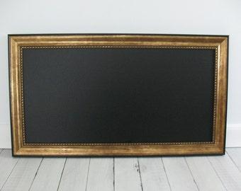 Large KITCHEN CHALKBOARD Framed MAGNETIC Wedding Sign Blackboard Photo Memo Antique Gold Black Frame Restaurant Chalk Board Markers Magnet
