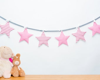 Baby bunting garland, Pink star garland, Baby girl nursery decor, Baby room decor