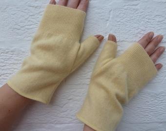 Yellow fingerless gloves cashmere soft wool handwarmers Primrose yellow Winter gloves handmade fingerless mittens medium size texters gloves