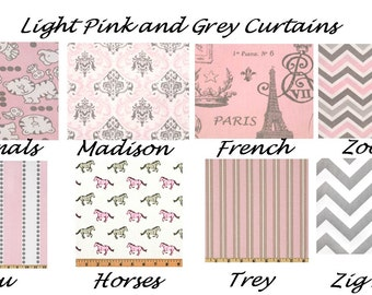 Light Pink Curtains,Pink and Grey Curtains, Valance, Custom Curtains,Pair Drapery Panels,24 wide,52 wide, Nursery,Child,Childs Bedroom,Bella