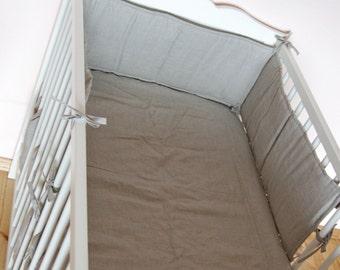 Linen crib bumper, natural linen padded bumper, linen full bumper, organic linen cot bumper, padded bumper, grey linen padded bumper pad