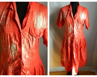 50% off Vintage Recycled Bleach Washed Red Day Dress Punk Grunge Painter Style Size Small