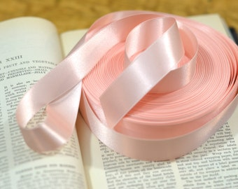 light blush pink hint of peach satin ribbon one inch width