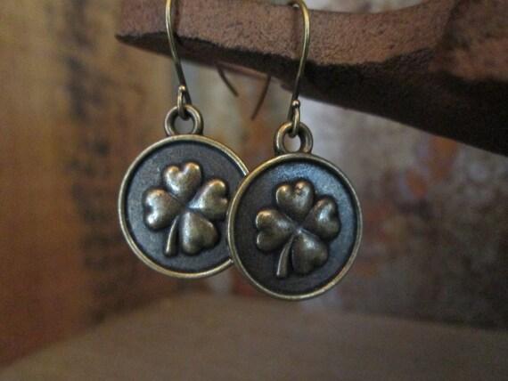 Metal Earrings, Shamrock Earrings, Good luck Earrings, Brass Earrings, Luck Earrings, St. Patrick's Day