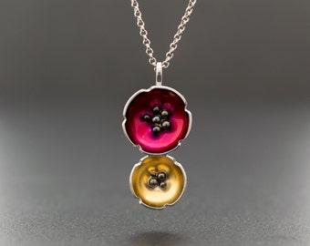 Enamel pendant,  flower necklace, gift for women, poppy necklace, sterling silver flower jewelry, hypoallergenic necklace, enamel jewelry
