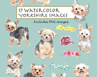 CLIP ART- Watercolor Yorkshire Terrier Set. 17 Images. Digital Download. Yorkie. Puppy. Black. Brown. White. Flora Wreath Crown.