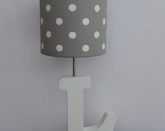 Handmade Small Grey with White Polka Dot Drum Lamp Shade - Great for Nursery or Kid's Room