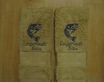 New 2 LARGEMOUTH BASS FISH Tan Hand Towels