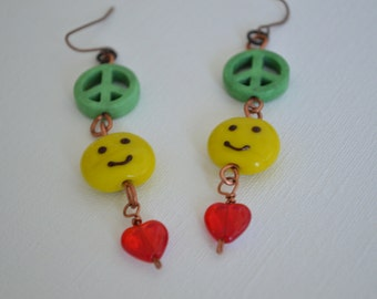 Peace Love & Happiness Earrings | ~nifty