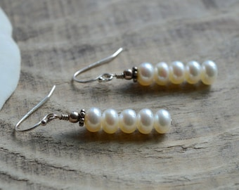 White Freshwater Pearl Row Earrings