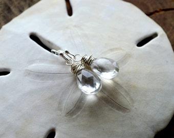 Rock Crystal Drop Earrings- Clear Stone Earrings- Crystal Earrings- Clear Crystal Earrings- April Birthstone Earrings