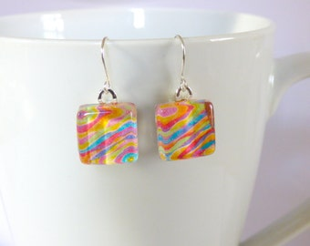 OOAK Rainbow Colors Glass Tile Earrings Colorful Bright Art Silver Wire Recycled Material Repurposed Magazine Upcycled Paper Art Jewelry