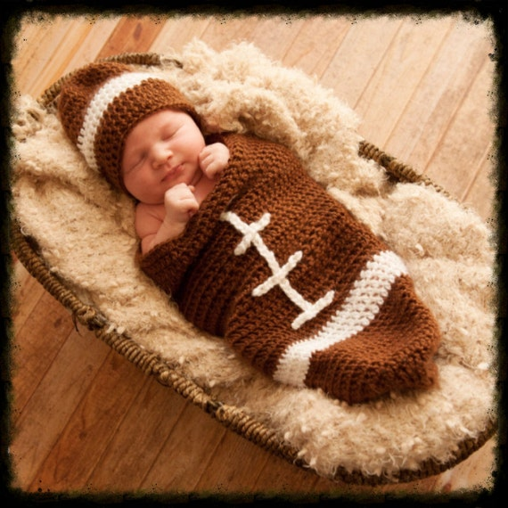 Free Printable Crochet Patterns For Baby Cocoons : SALE Newborn infant crochet football cocoon pattern