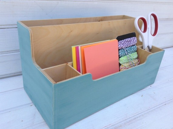 blue desk organizer chalk paint upcycled ikea wooden supply