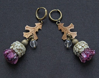 Thistle - glass lampwork earrings with bronze leaves. Violet, olive and bronze colors.