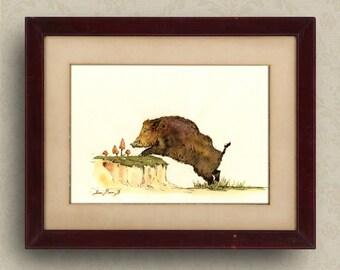 PRINT-Wild boar hog painting watercolor PRINT - forest  - Art Print by Juan Bosco