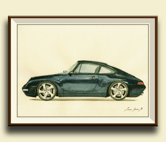 impression porsche 911 993 carrera porsche noir classique. Black Bedroom Furniture Sets. Home Design Ideas