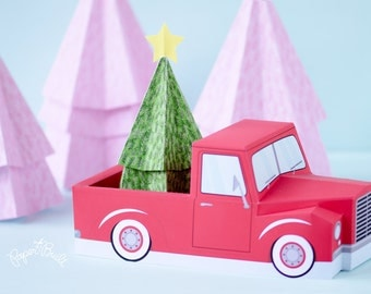 Christmas Decor, Pickup Truck, Pickup Truck Cupcake Holder, Vintage Pickup, Favor Box, Treat Box, Christmas, Holiday Centerpiece, Retro Car