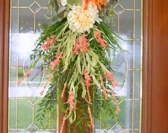 Door Swag - Fall swag - Wreaths - Orange and Ivory Teardrop swag - Spider mums - Summer Wreath