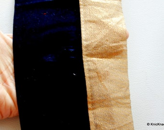 Blue Velvet Trim With Gold Shimmer Border Piping 1 Yard Approx 12 cm Wide - 041203L107