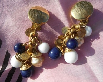 Gold Gypsy Clips Blue and White Beaded Dangle Earrings