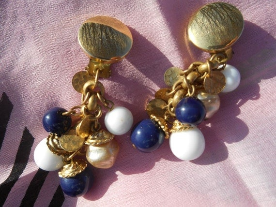 Gold Gypsy Clips Blue and White Beaded Dangle Earrings #sophieladydeparis