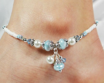 Anklet, Ankle Bracelet, Light Blue Dangles, Beaded Anklet, Summer Anklet, Beach Jewelry, Vacation Jewelry, Something Blue Bridesmaid Jewelry