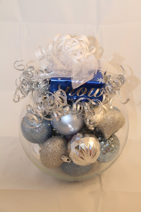 Christmas centerpiece silver and blue holiday decoration