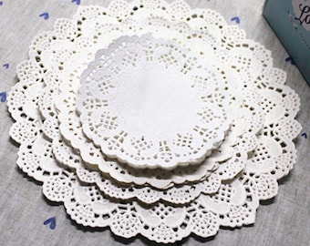 White Flower Lace Paper Doilie (10pc) Wedding Decor, Bridal Shower Decor, Baby Shower Decor