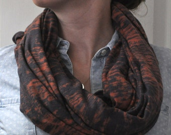 orange and gray burnout cotton jersey knit infinity scarf