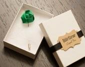 Green Satin Rose Lapel Pin - Lapel Pin -  Flower Lapel Pin - Green Satin Rose Stick Pin, Men's Lapel Pin