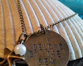 """I Belong By the Sea Brass 20"""" Necklace"""