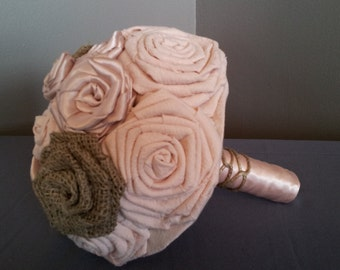 Wedding Bouquet - Blush and Burlap Fabric Flower Wedding Bouquet - Blush Wedding