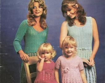 Crochet Pattern Mini Dress Mother & Daughter Short Sleeves Patons 2461 DK PDF Instant Download