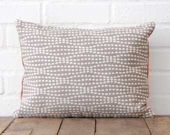 Grey and White Polka Dots & Orange Suede Lumbar Pillow
