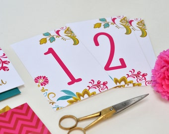 Table Numbers ~ Wedding Decor ~ Gold, Pink, Teal