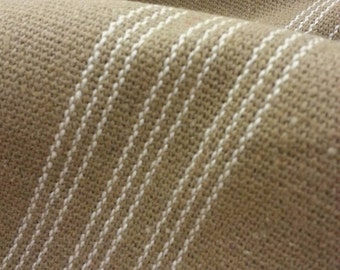 """SALE Grain Sack Fabric By The Yard - Farmhouse Tan Fabric - Cream 9 Stripe - 54"""" Wide - Upholstery Weight - WAS 14.99"""